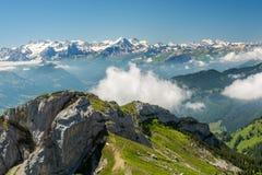 Alpi svizzere da Pilatus Immagine Stock