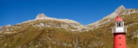 Alpi svizzere, faro del passaggio di Oberalp Immagine Stock Libera da Diritti