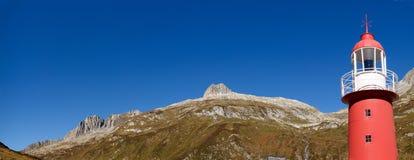 Alpi svizzere, faro del passaggio di Oberalp Immagini Stock