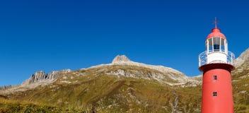 Alpi svizzere, faro del passaggio di Oberalp Immagini Stock Libere da Diritti