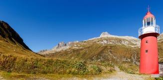 Alpi svizzere, faro del passaggio di Oberalp Fotografia Stock
