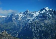 Alpi svizzere: Mountain View di Schilthorn a Eiger, Mönch, Jungfrau Fotografia Stock