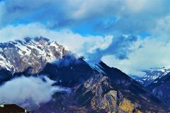 Alpi svizzere nel cielo Fotografia Stock