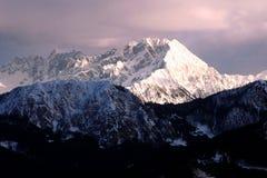 Alpi svizzere nel tramonto Immagini Stock Libere da Diritti