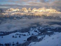 Alpi svizzere nel tramonto Fotografia Stock