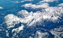 Alpi svizzere osservate da sopra Immagini Stock