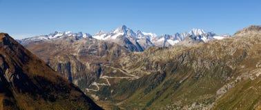 Alpi svizzere, vista del passaggio di Grimsel Fotografie Stock