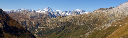 Alpi svizzere, vista del passaggio di Grimsel Immagini Stock Libere da Diritti