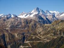 Alpi svizzere, vista del passaggio di Grimsel Fotografia Stock Libera da Diritti