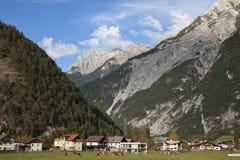 Alpi, villaggio alpino nella valle, Germania Immagini Stock