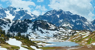 Alpien bergpanorama (Vorarlberg, Oostenrijk) Royalty-vrije Stock Fotografie