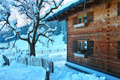 Alpien chalet in sneeuwlandschap stock afbeeldingen