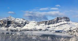 Alpien CREST in de Winter Stock Afbeeldingen