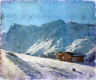 Alpien de winterlandschap Stock Afbeelding