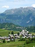 Alpien dorp Stock Fotografie
