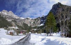 Alpien dorp in de winter stock fotografie