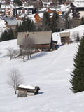 Alpien dorp en chalet Stock Fotografie