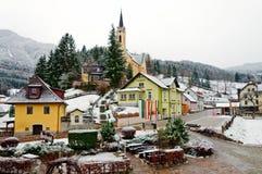 Alpien dorp Prein op RAX in de winter Lager Oostenrijk royalty-vrije stock afbeeldingen