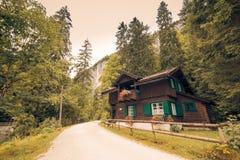 Alpien huis en bergbos royalty-vrije stock afbeelding