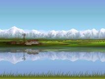 Alpien landbouwbedrijf vector illustratie