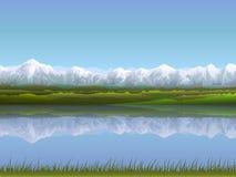 Alpien landschap stock illustratie