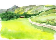 Alpien landschap De illustratie van de waterverf Stock Fotografie