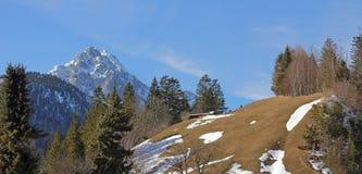 Alpien landschap met sneeuw aan het eind van de winter Royalty-vrije Stock Afbeelding