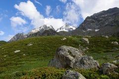 Alpien landschap vroeg in de ochtend Stock Foto's