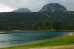 Alpien meer onder bergen met grasrijke banken en bewolkte hemel stock foto's