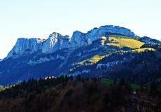 Alpiene heuvel Alp Sigel in de Alpstein-bergketen en in het Appenzellerland-gebied stock afbeeldingen