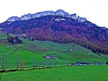 Alpiene heuvel Alp Sigel in de Alpstein-bergketen en in het Appenzellerland-gebied stock afbeelding