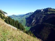 Alpiene heuvel Alp Sigel in de Alpstein-bergketen en in het Appenzellerland-gebied royalty-vrije stock foto's