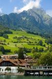 Alpiene heuvel en haven Stock Fotografie