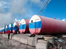 Alpiene hutvaten Elbrus, Rusland Royalty-vrije Stock Afbeeldingen