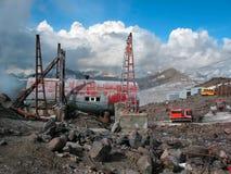 Alpiene hutvaten Elbrus, Rusland Stock Afbeelding