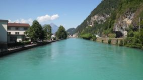 Alpiene pieken landskape achtergrond Jungfrau, Bernese-hoogland Alpen, toerisme en avonturen wandelingsconcept stock footage