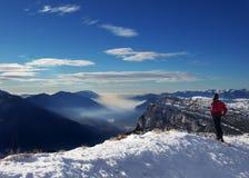 Alpiene skiër en de winter Royalty-vrije Stock Afbeeldingen