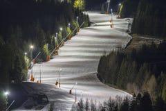 Alpiene skitoevlucht Serfaus Fiss Ladis in Oostenrijk Stock Fotografie