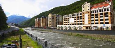 Alpiene stad stock afbeeldingen