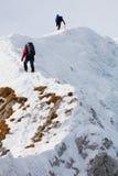 Alpiene trekkers stock afbeelding