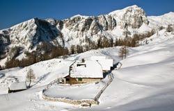 Alpiene weide in de winter Stock Afbeeldingen