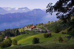 Alpiene weide met buitenhuis Royalty-vrije Stock Fotografie