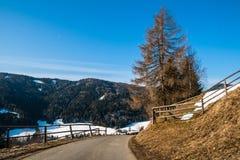 Alpin风景街道 免版税库存图片