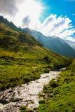 Alpin dal med floden och berg arkivbild