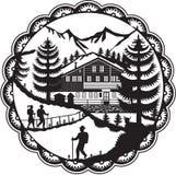 Alpin fotvandrare Decoupage för schweizisk chalet royaltyfri illustrationer