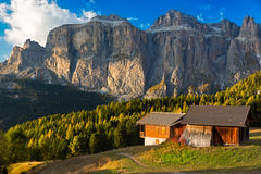 Alpin hut at Passo Pordoi with Sella Group, Dolomites, Italian A Royalty Free Stock Photos
