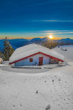 Alpin hut in the snow Royalty Free Stock Photography