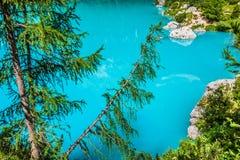 Alpin lake Sorapis - Italian Dolomites stunning landscape. Stock Photo