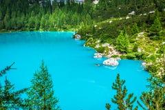 Alpin lake Sorapis - Italian Dolomites stunning landscape. Royalty Free Stock Images