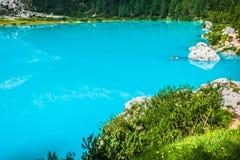 Alpin lake Sorapis - Italian Dolomites stunning landscape. Stock Image